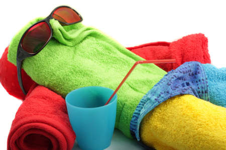 Towel man taking sun-bath isolated over white photo