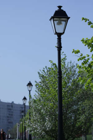 composure: Row of street lamps focus on closest Stock Photo