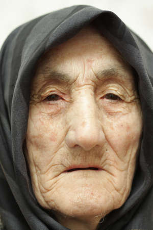 Very old woman face closeup portrait Stock Photo - 3324859