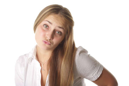 Photo of fairhaired girl with begging facial expression isolated