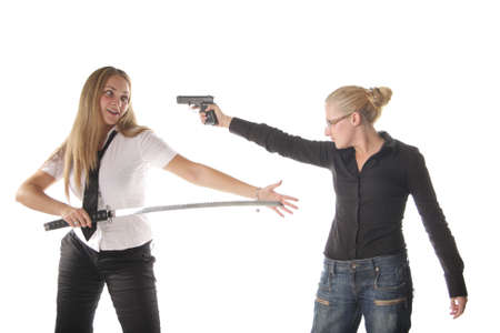 rivals: Two armed girls demonstrating rivals conflict isolated