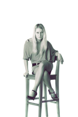 Toned monochrome photo of girl isolated over white Stock Photo - 3659345