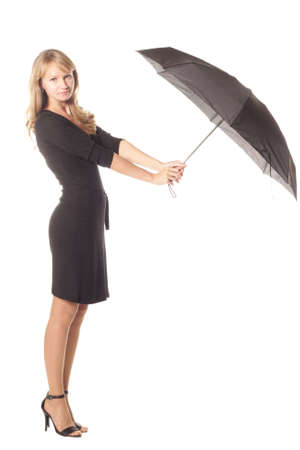 Girl with black umbrella isolated over white photo