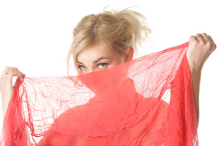 horozontal: Blond woman hiding face under red shawl photo over white