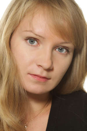 gray eyes: Classic closeup portrait of blonde girl with gray eyes Stock Photo