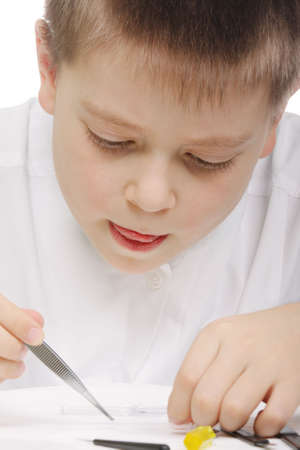 diligent: Young diligent researcher with tweezers closeup photo Stock Photo