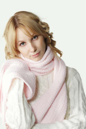 wooly: Pretty blond girl in pink scarf and white wooly
