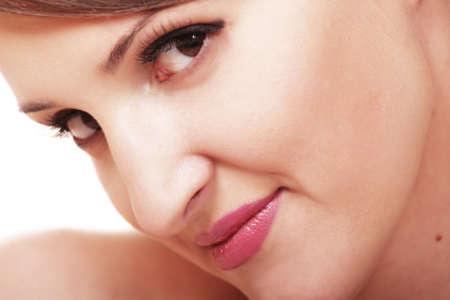 soft focus: Bonita mujer con labios de color rosa jefe de cerca enfoque suave foto Foto de archivo