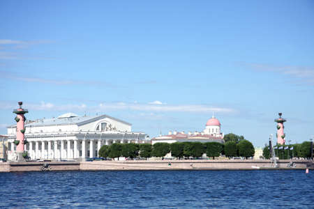 Vasilievsky island in St.Petersburg view from opposite side Stock Photo