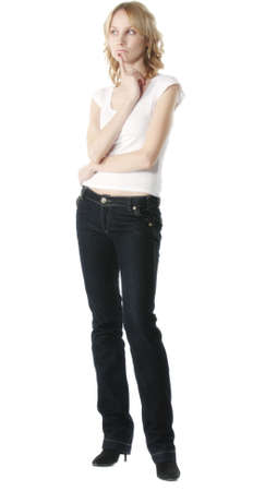contemplated: Contemplated slender girl in casual over white background