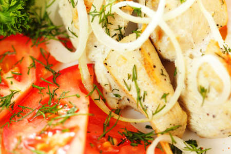chuck: Chuck roast with fresh tomatoes and onion closeup photo Stock Photo