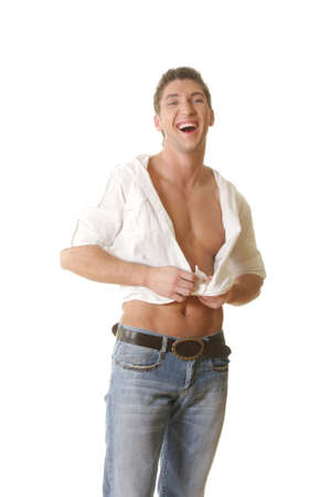 shirt unbuttoned: Laughing casual man in unbuttoned shirt over white Stock Photo