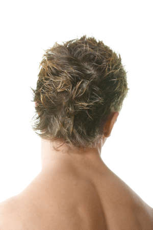 Man demonstrating haircut over white background