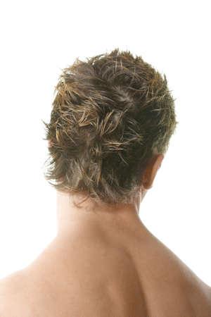 demonstrating: Man demonstrating haircut over white background