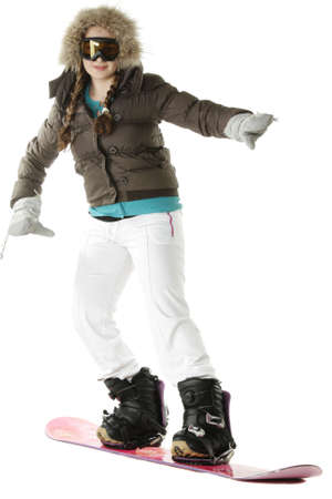 Girl posing with snowboard photo over white background Stock Photo
