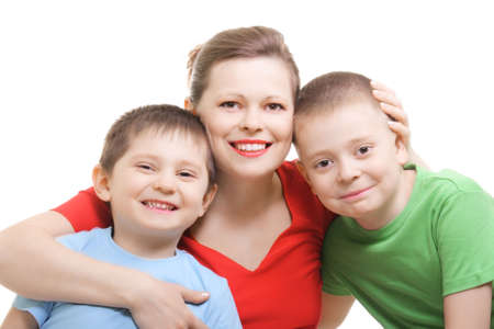offsprings: Mummy with two sons photo over white background Stock Photo