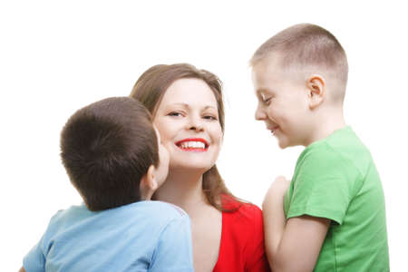 Kids around mommy photo against white background Stock Photo