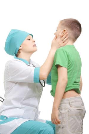 Boy at medical examination photo over white background Stock Photo - 4761831