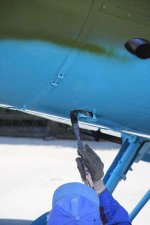 tinting: Blue plane part tinting process photo