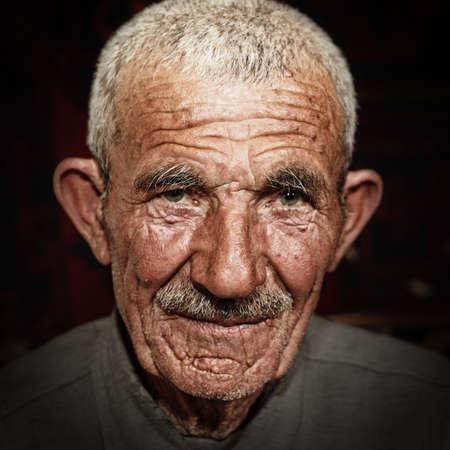 Closeup head and shoulders portrait of senior man Stock Photo