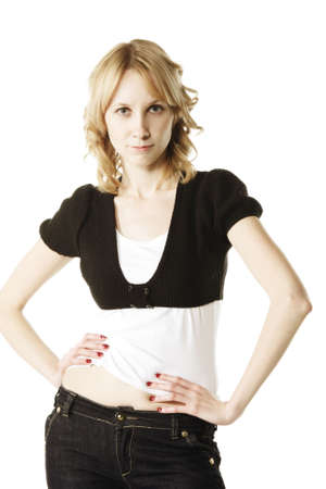 displeased: Displeased young blonde woman over white background Stock Photo