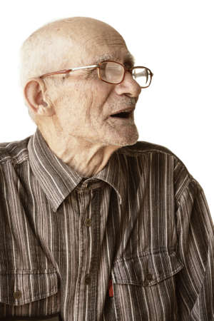 Senior man in eyeglasses sideview photo over white Stock Photo - 5384182