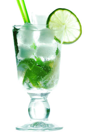 Mojito cocktail with lime and ice against white background Stock Photo