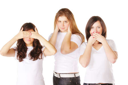 voiceless: Young eyeless earles and voiceless women against white background Stock Photo