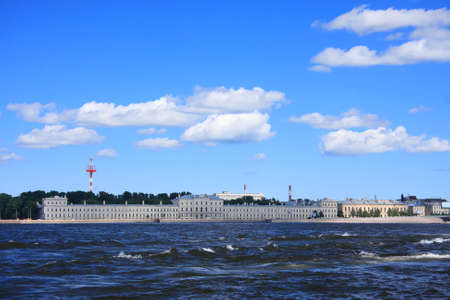 sightseeng: Saint Petersburgh sightseeng while rowing by Neva summer photo Stock Photo
