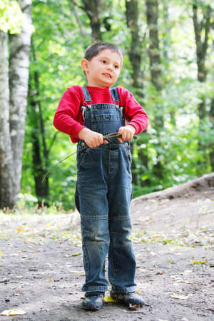brushwood: Little boy in summer forest with brushwood in hands