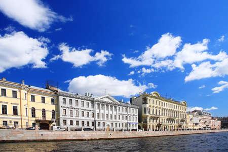 alongside: Old buildings alongside channel in Saint Petersburg Russia