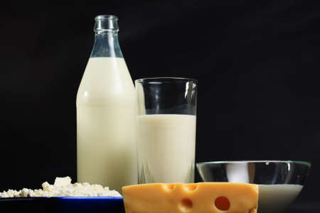 Various dairy products in line against dark background