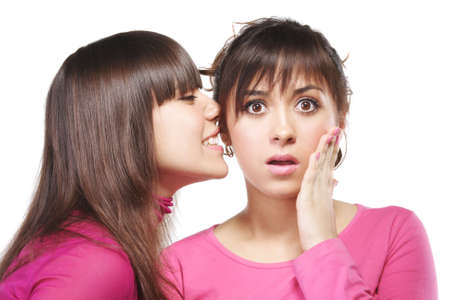 unbelievable: Two young women in pink interchanging unbelievable news