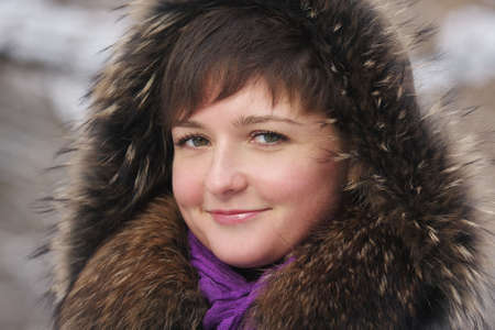 Smiling young woman in frosty winter day closeup photo Stock Photo - 6335855