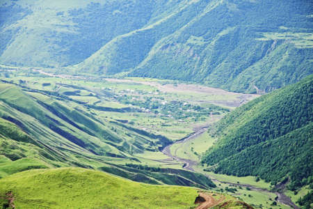 Village in Kurah-chai valley at the foot of Great Caucasus range mountains Stock Photo - 6423092
