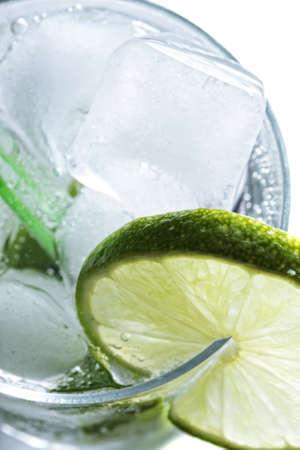 Mojito cocktail closeup photo above view against white photo