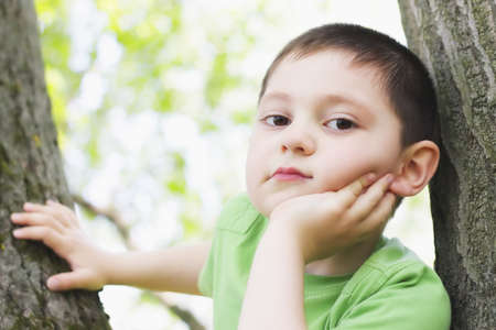 Cute boy sitting between trees leaning on fist photo