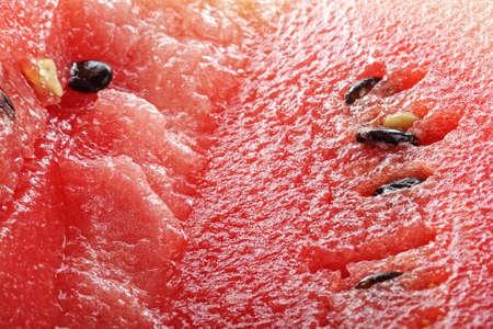 Ripe watermelon pulp with seeds closeup macro photo photo