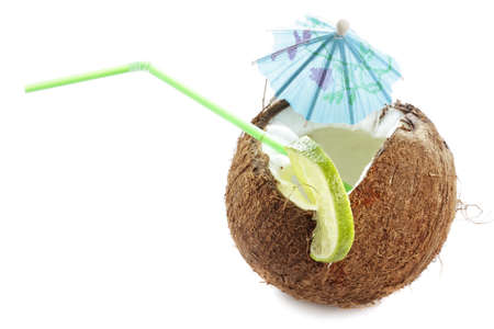 Coconut cocktail above view photo over white background