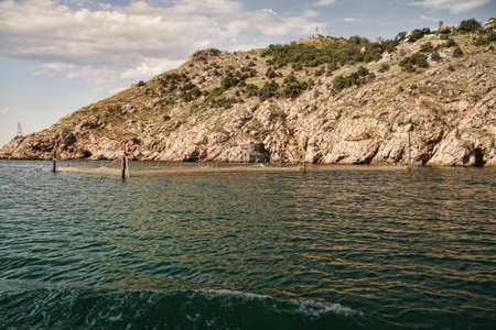 installed: Net installed in Balaklava bay of Black sea Crimea Ukraine Stock Photo