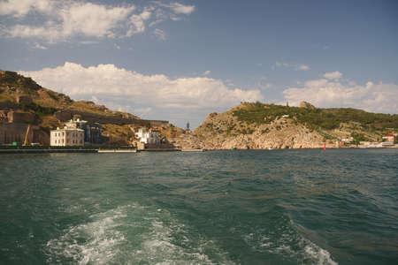 near side: Balaklava bay near Sevastopol Ukraine view from sea side