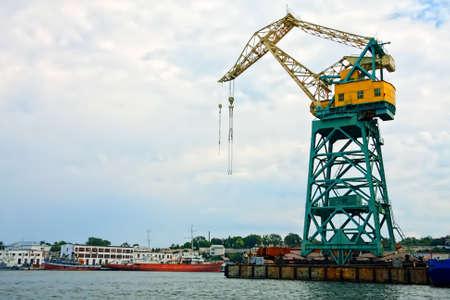 Big lifting crane in port of Sevastopol Crimea Ukraine Stock Photo