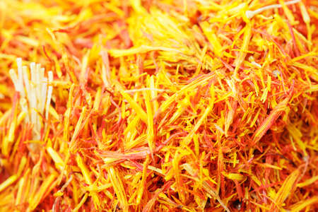 Saffron leaves spice closeup photo for background usage photo
