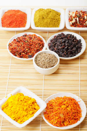 Various geometry shapes set by dishes with various spices Stock Photo - 8176651