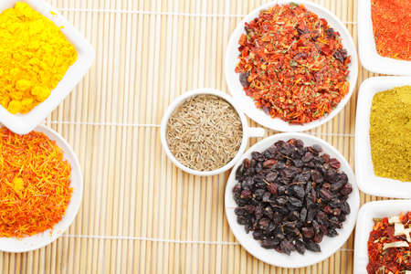 Various geometry shapes set by dishes with various spices above view Stock Photo - 8176654