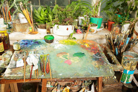Artist workplace in front on window above view photo Stock Photo - 9224691