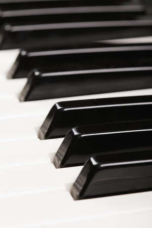 Piano keys closeup photo selective focus