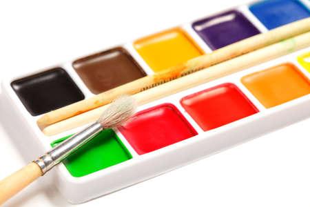 Paintbrush on box of dry aquarelle paints closeup Stock Photo - 9284837