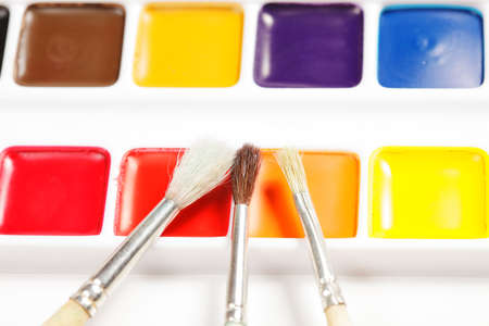 Three paintbrushes on box of dry aquarelle closeup Stock Photo - 9284841
