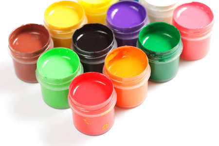 Various gouache paints in plastic containers Stock Photo - 9284838
